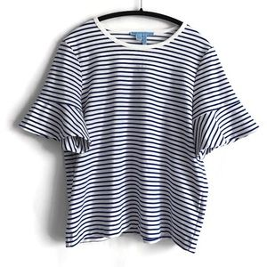 Draper James Blue and White Stripe Blouse
